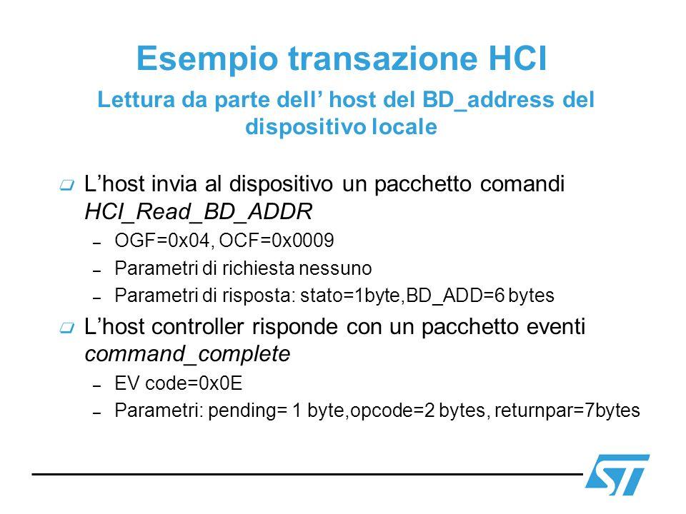 Esempio transazione HCI Lettura da parte dell' host del BD_address del dispositivo locale