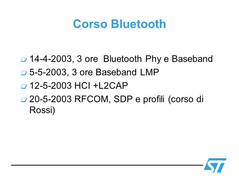 Corso Bluetooth 14-4-2003, 3 ore Bluetooth Phy e Baseband
