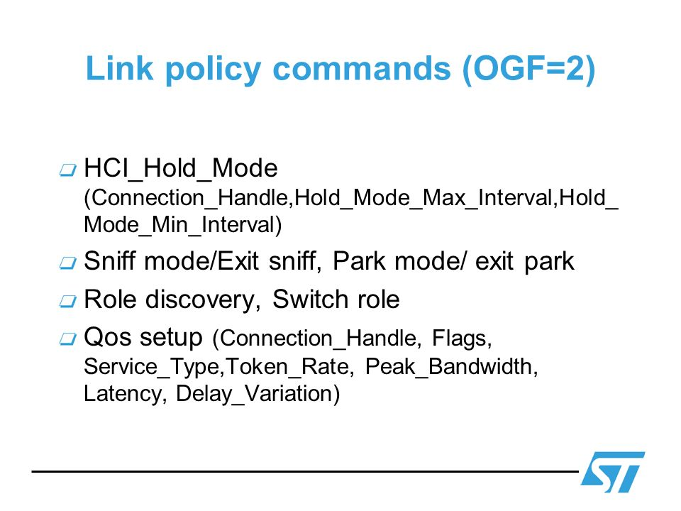 Link policy commands (OGF=2)