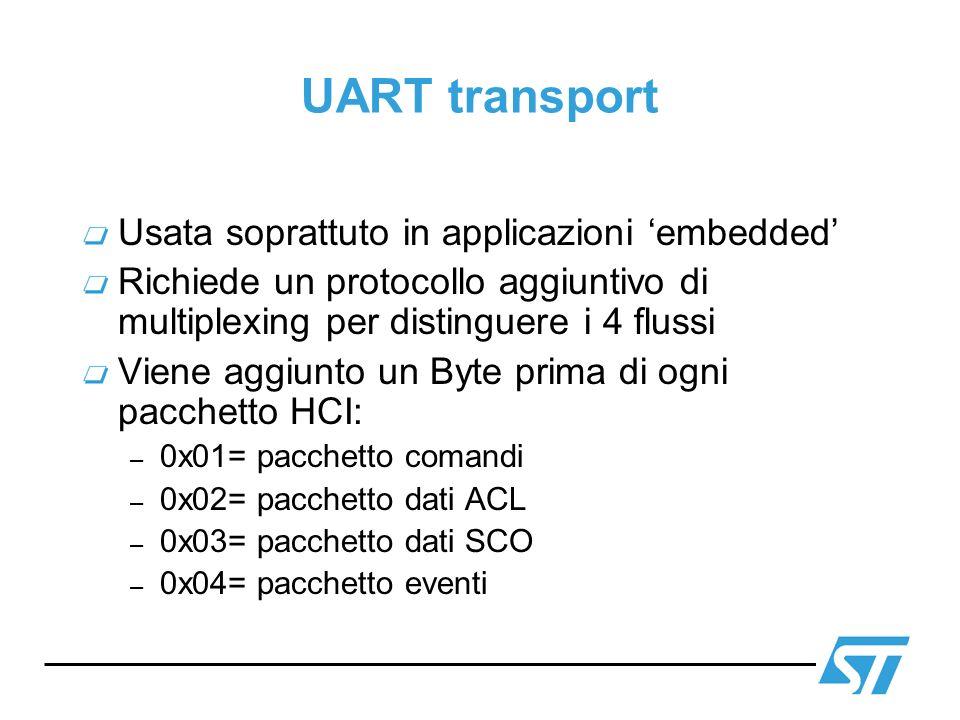 UART transport Usata soprattuto in applicazioni 'embedded'
