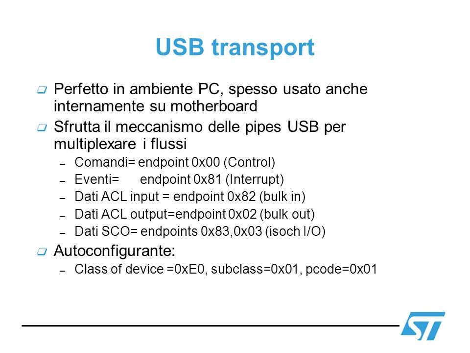 USB transportPerfetto in ambiente PC, spesso usato anche internamente su motherboard.
