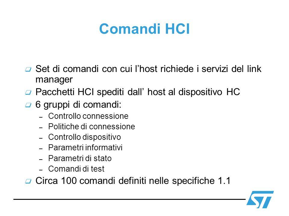 Comandi HCI Set di comandi con cui l'host richiede i servizi del link manager. Pacchetti HCI spediti dall' host al dispositivo HC.