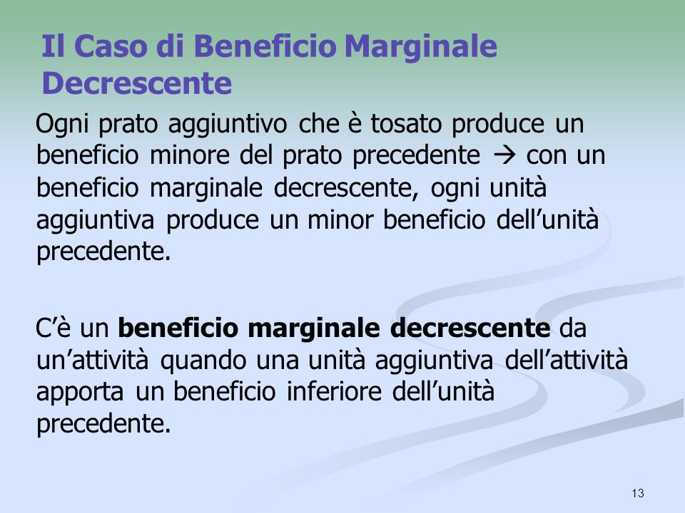 Il Caso di Beneficio Marginale Decrescente
