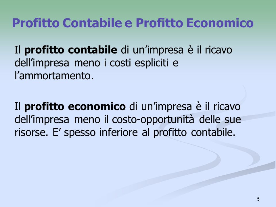 Profitto Contabile e Profitto Economico