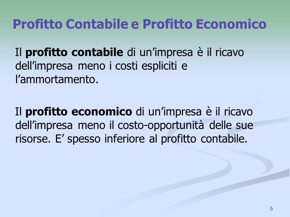Profitto Contabile e Profitto Economico