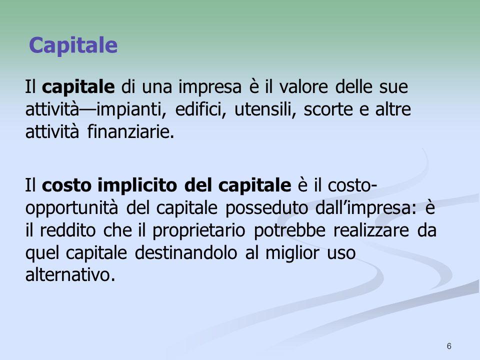 Capitale Il capitale di una impresa è il valore delle sue attività—impianti, edifici, utensili, scorte e altre attività finanziarie.