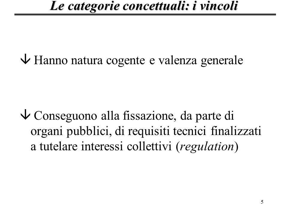Le categorie concettuali: i vincoli