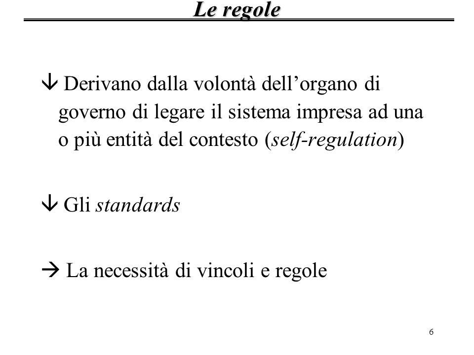 Le regole Derivano dalla volontà dell'organo di governo di legare il sistema impresa ad una o più entità del contesto (self-regulation)