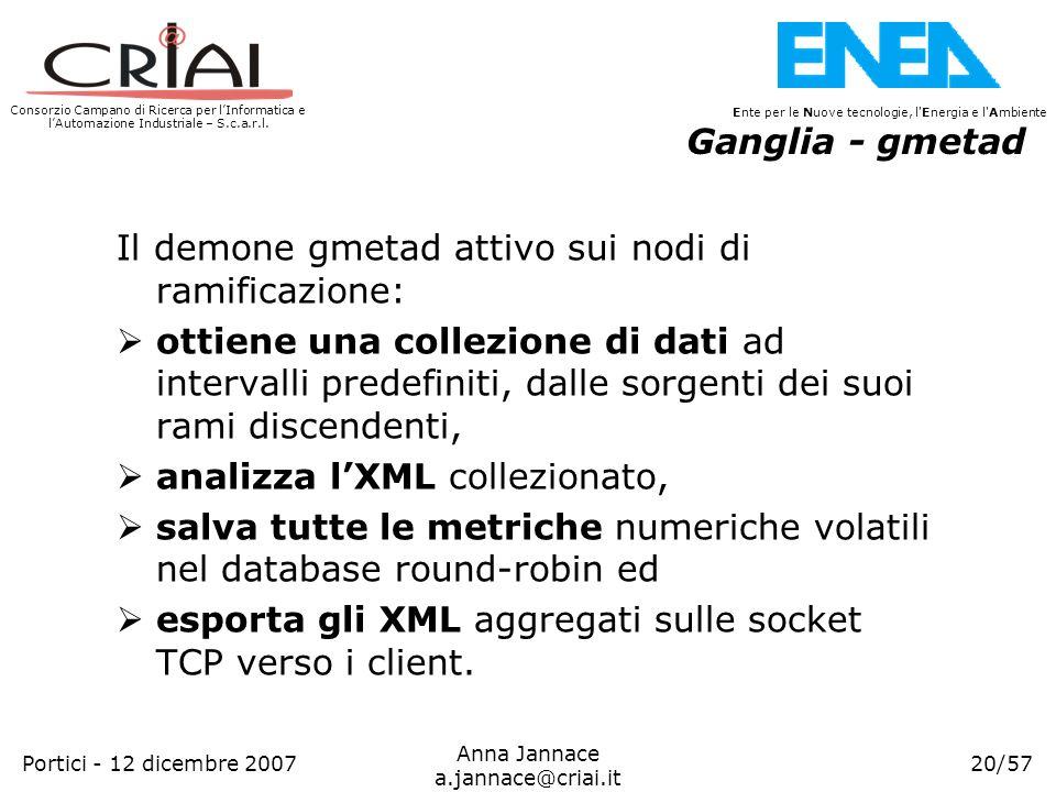 Ganglia - gmetad Il demone gmetad attivo sui nodi di ramificazione: