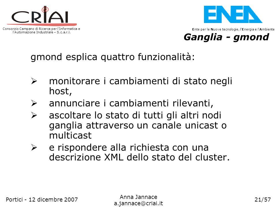 Ganglia - gmond gmond esplica quattro funzionalità: monitorare i cambiamenti di stato negli host, annunciare i cambiamenti rilevanti,