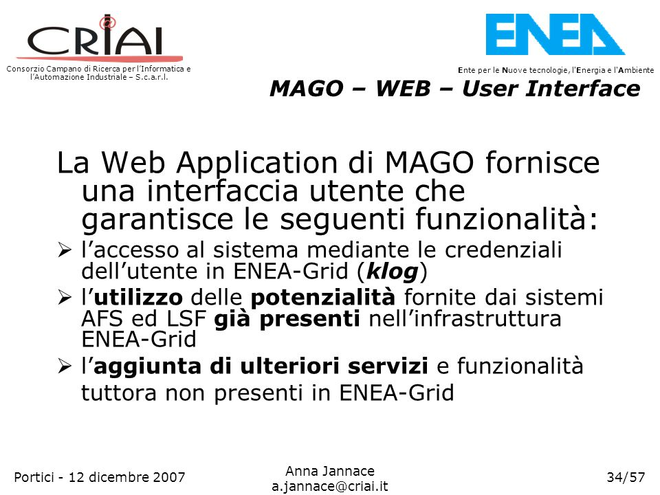 MAGO – WEB – User Interface