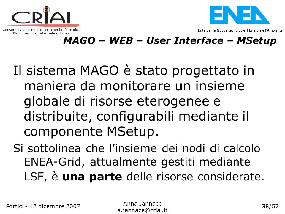 MAGO – WEB – User Interface – MSetup