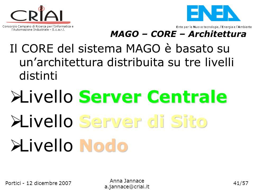 Livello Server Centrale Livello Server di Sito Livello Nodo
