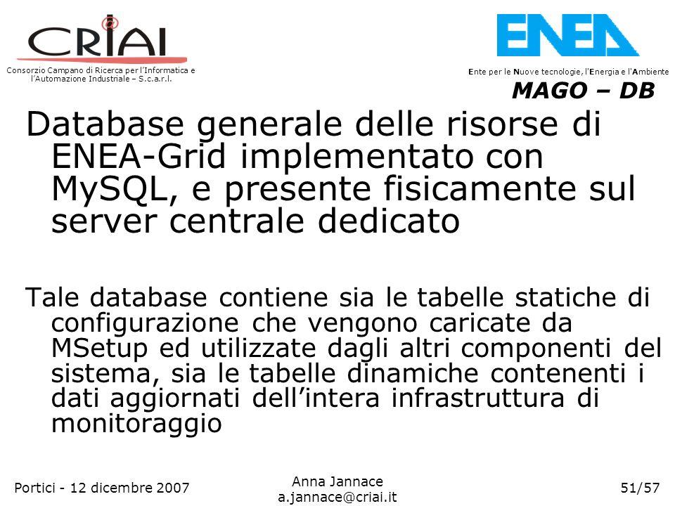 MAGO – DB Database generale delle risorse di ENEA-Grid implementato con MySQL, e presente fisicamente sul server centrale dedicato.