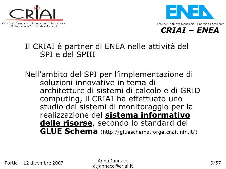 CRIAI – ENEA Il CRIAI è partner di ENEA nelle attività del SPI e del SPIII.