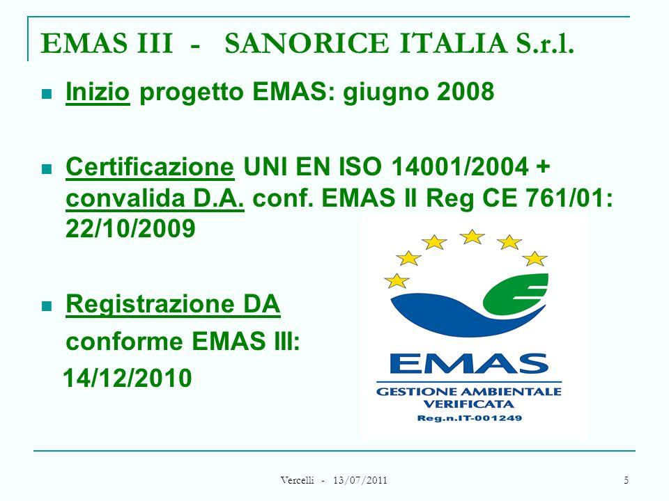EMAS III - SANORICE ITALIA S.r.l.