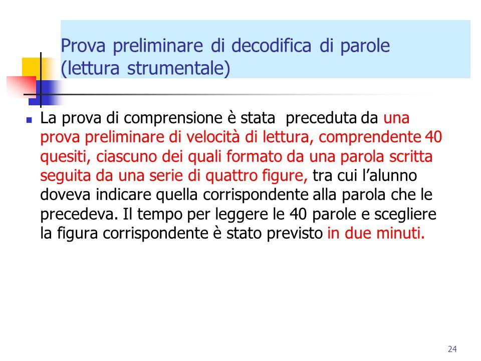 Prova preliminare di decodifica di parole (lettura strumentale)