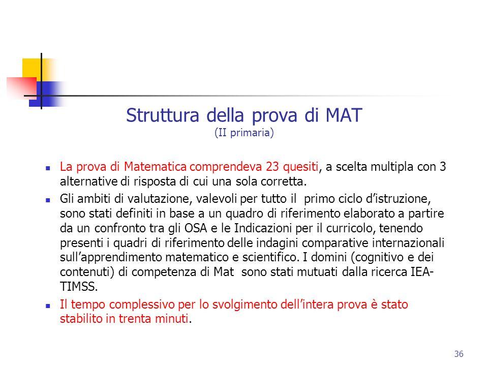 Struttura della prova di MAT (II primaria)