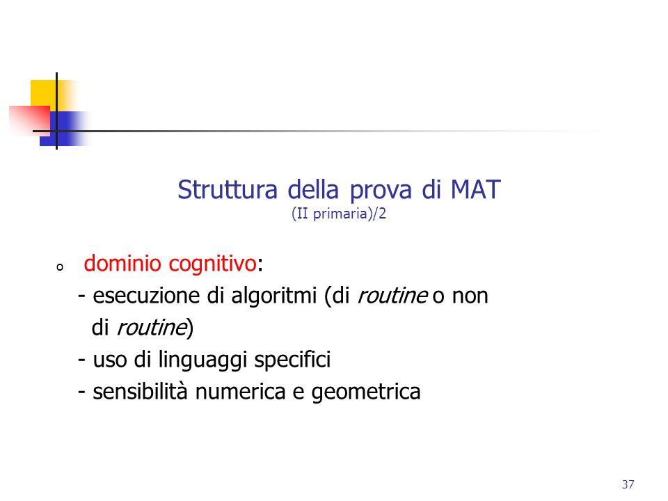 Struttura della prova di MAT (II primaria)/2