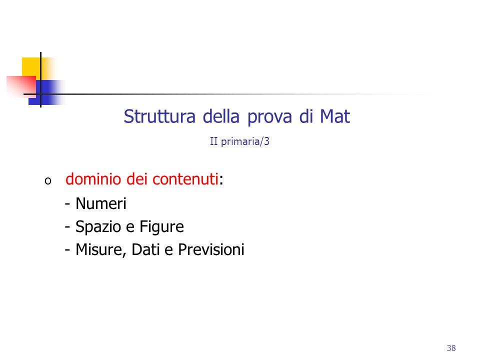Struttura della prova di Mat II primaria/3