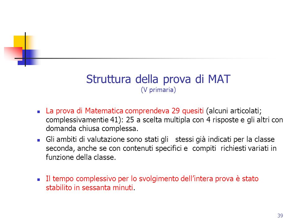 Struttura della prova di MAT (V primaria)