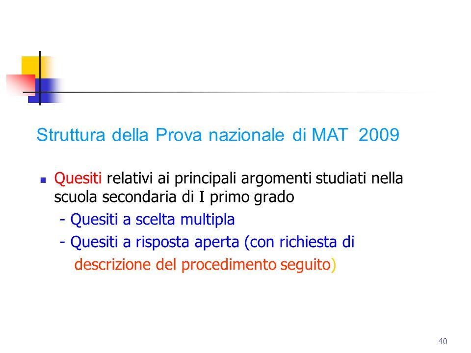 Struttura della Prova nazionale di MAT 2009