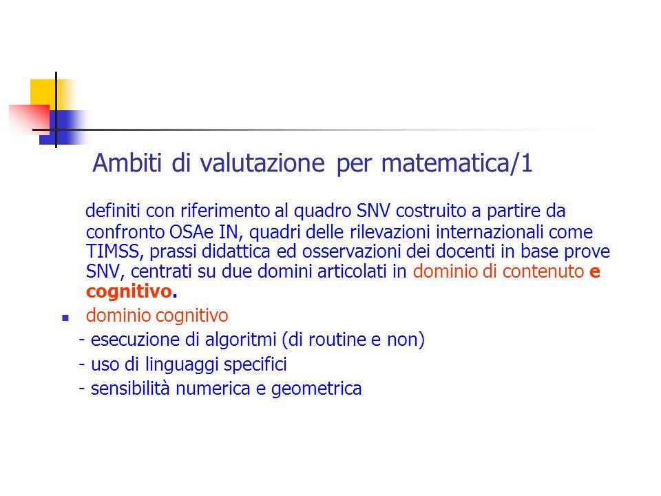 Ambiti di valutazione per matematica/1