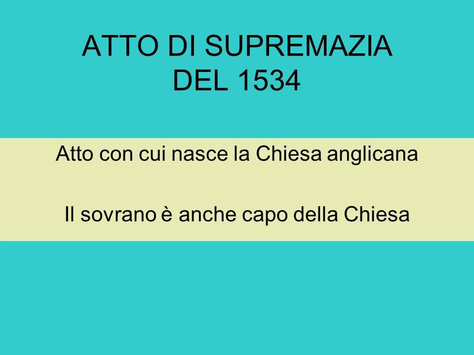 ATTO DI SUPREMAZIA DEL 1534 Atto con cui nasce la Chiesa anglicana