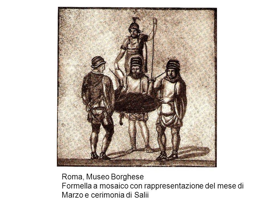 Roma, Museo Borghese Formella a mosaico con rappresentazione del mese di Marzo e cerimonia di Salii