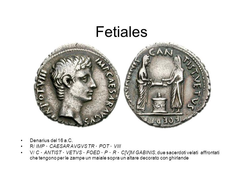 Fetiales Denarius del 16 a.C. R/ IMP ・ CAESAR AVGVS TR ・ POT ・ VIII