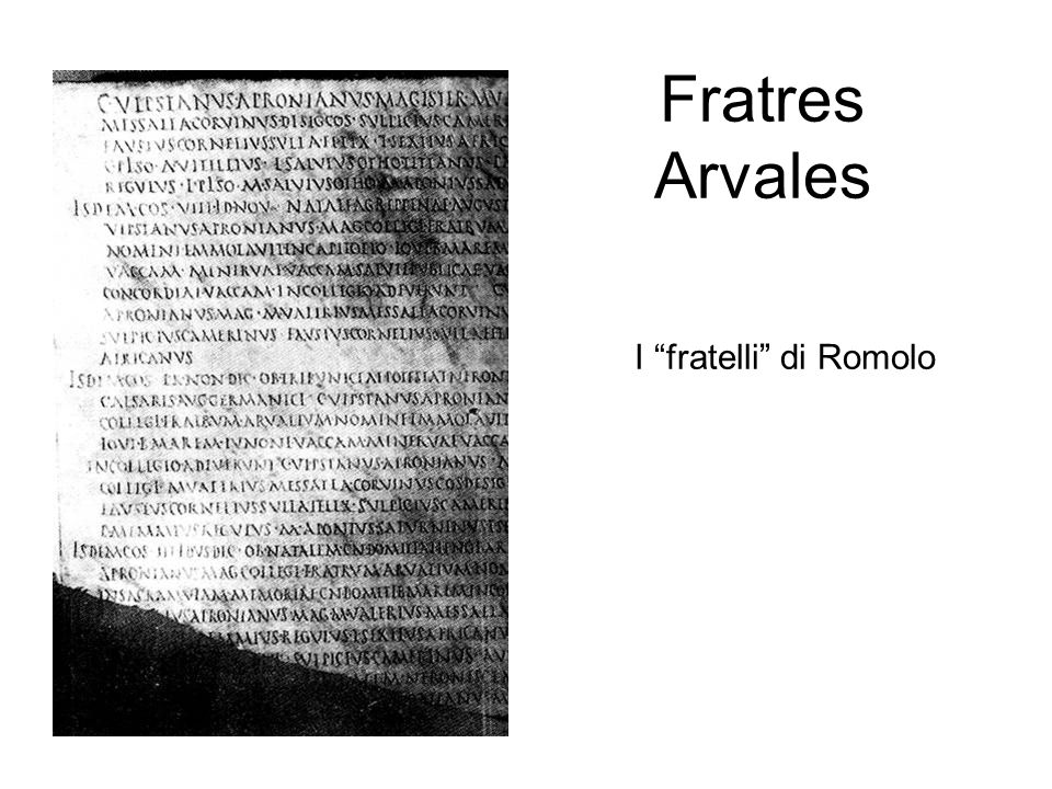 Fratres Arvales I fratelli di Romolo