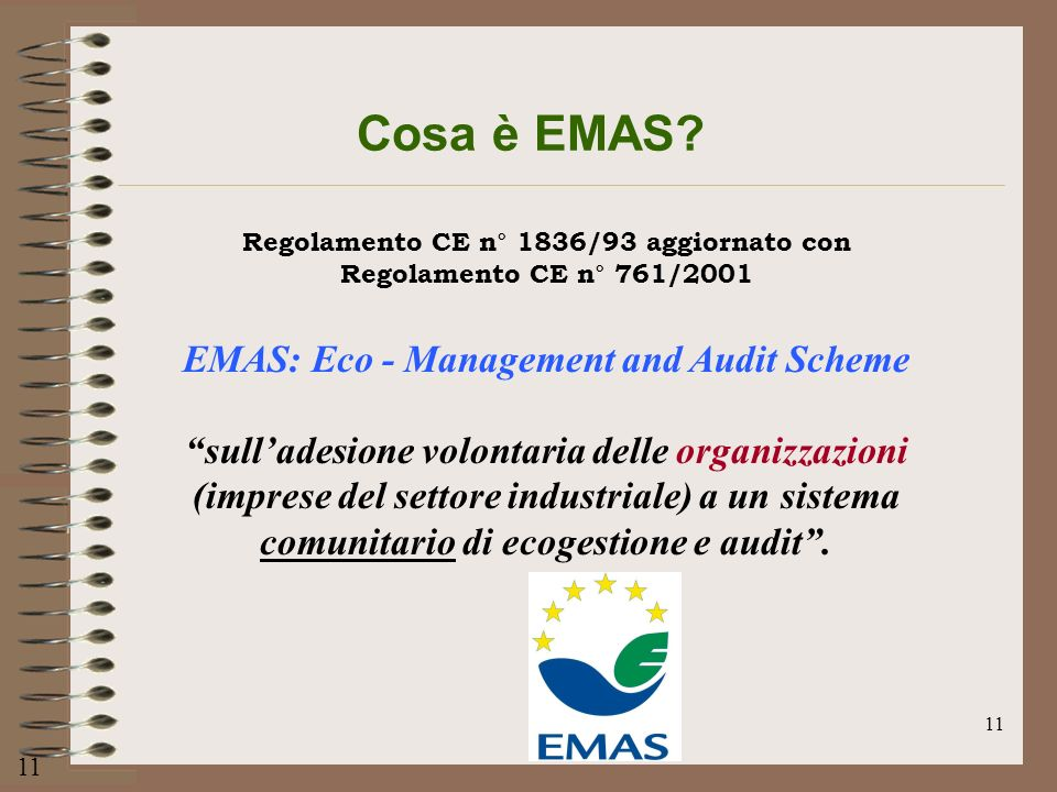 Cosa è EMAS EMAS: Eco - Management and Audit Scheme