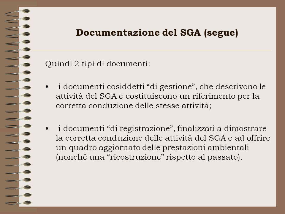 Documentazione del SGA (segue)
