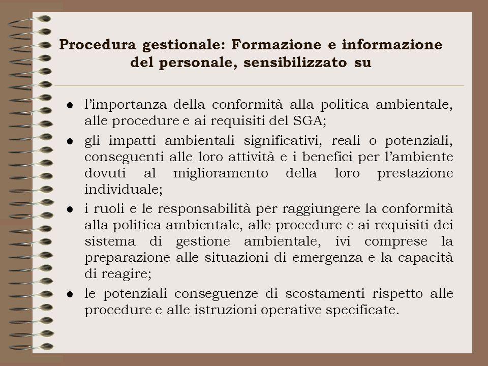 Procedura gestionale: Formazione e informazione del personale, sensibilizzato su