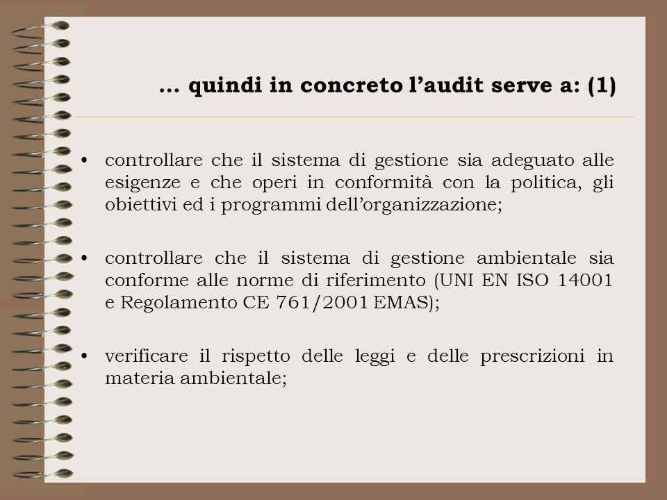 … quindi in concreto l'audit serve a: (1)