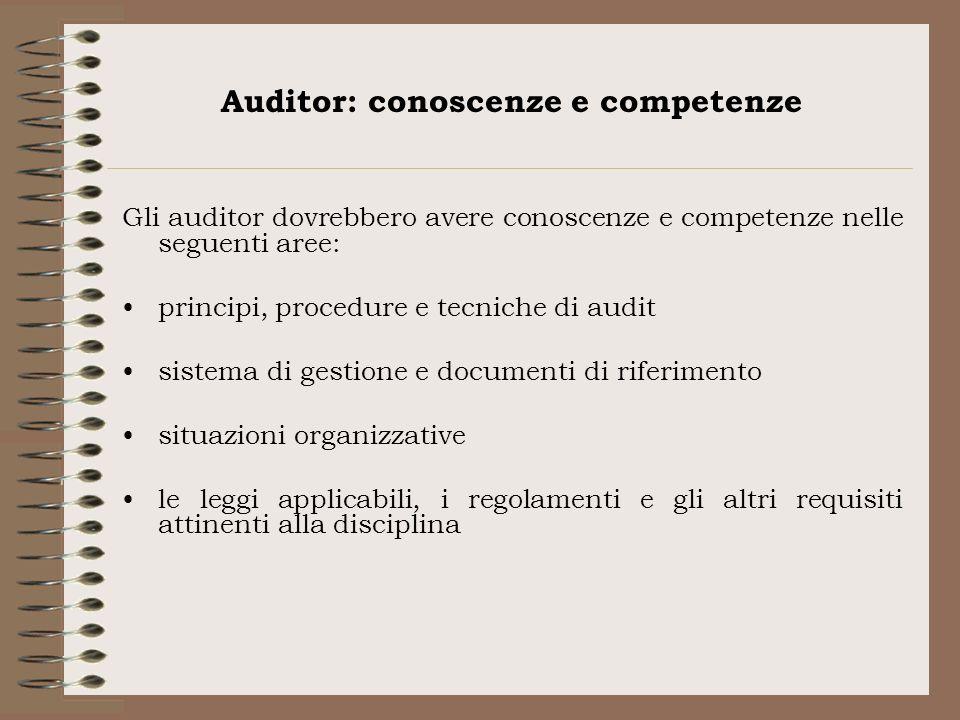 Auditor: conoscenze e competenze