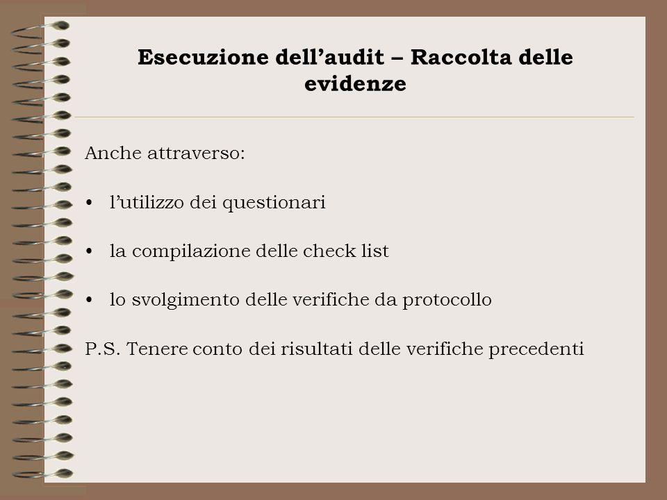 Esecuzione dell'audit – Raccolta delle evidenze