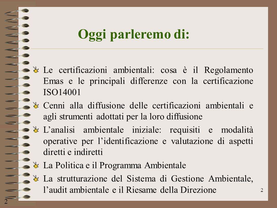 Oggi parleremo di: Le certificazioni ambientali: cosa è il Regolamento Emas e le principali differenze con la certificazione ISO14001.