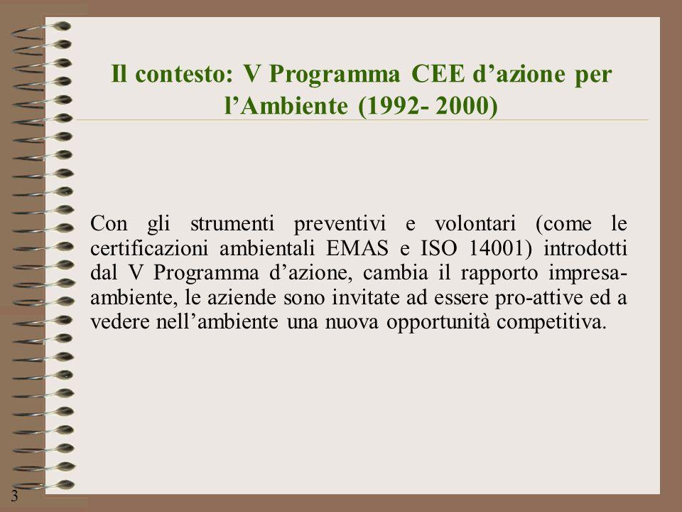 Il contesto: V Programma CEE d'azione per l'Ambiente (1992- 2000)