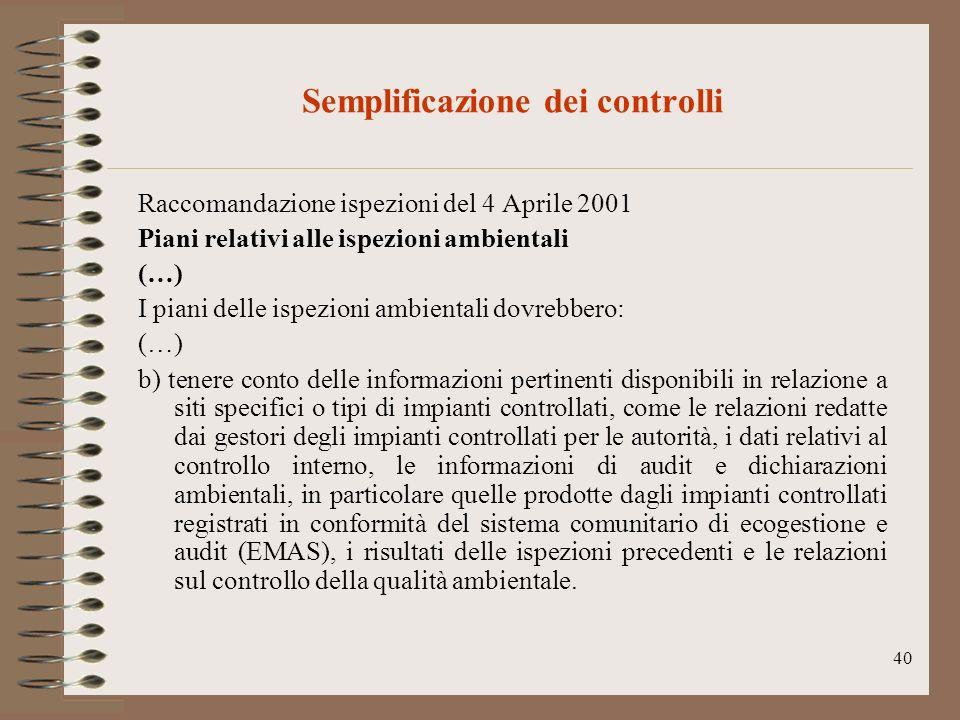 Semplificazione dei controlli