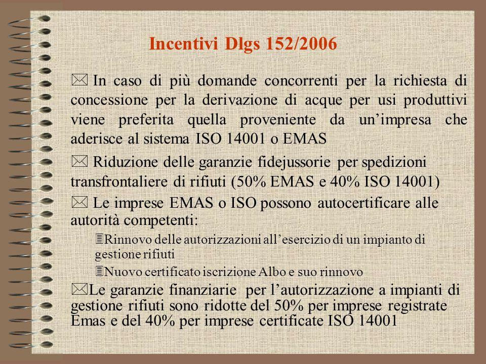 Incentivi Dlgs 152/2006