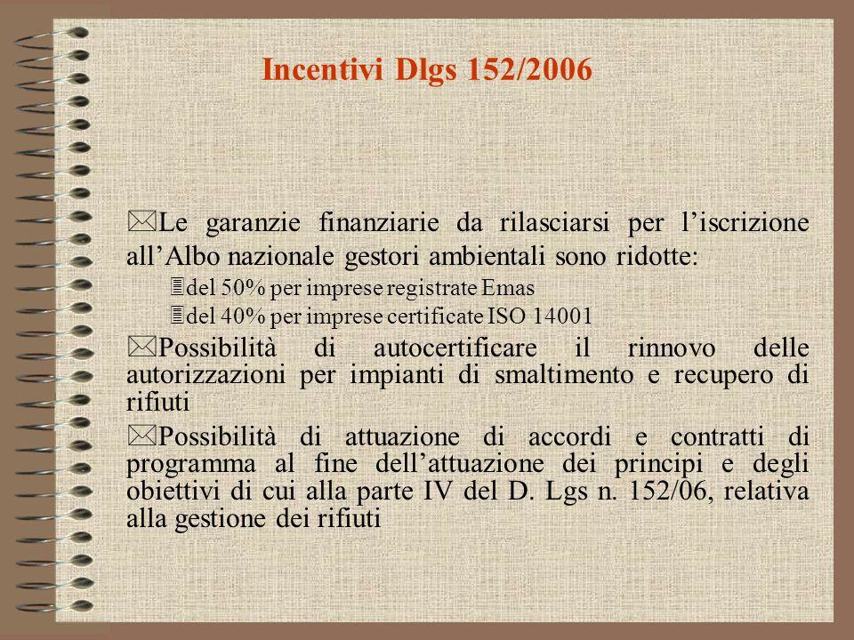 Incentivi Dlgs 152/2006 Le garanzie finanziarie da rilasciarsi per l'iscrizione all'Albo nazionale gestori ambientali sono ridotte: