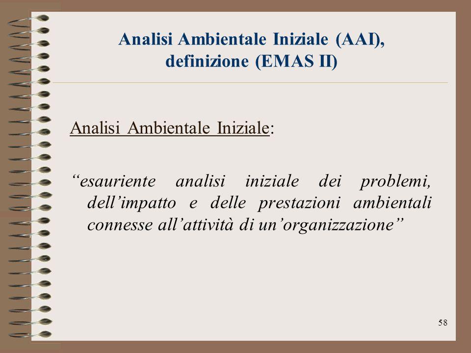 Analisi Ambientale Iniziale (AAI), definizione (EMAS II)