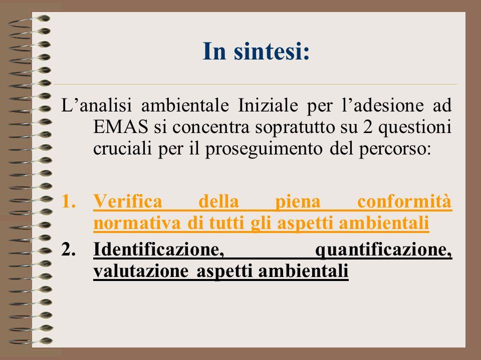 In sintesi: L'analisi ambientale Iniziale per l'adesione ad EMAS si concentra sopratutto su 2 questioni cruciali per il proseguimento del percorso: