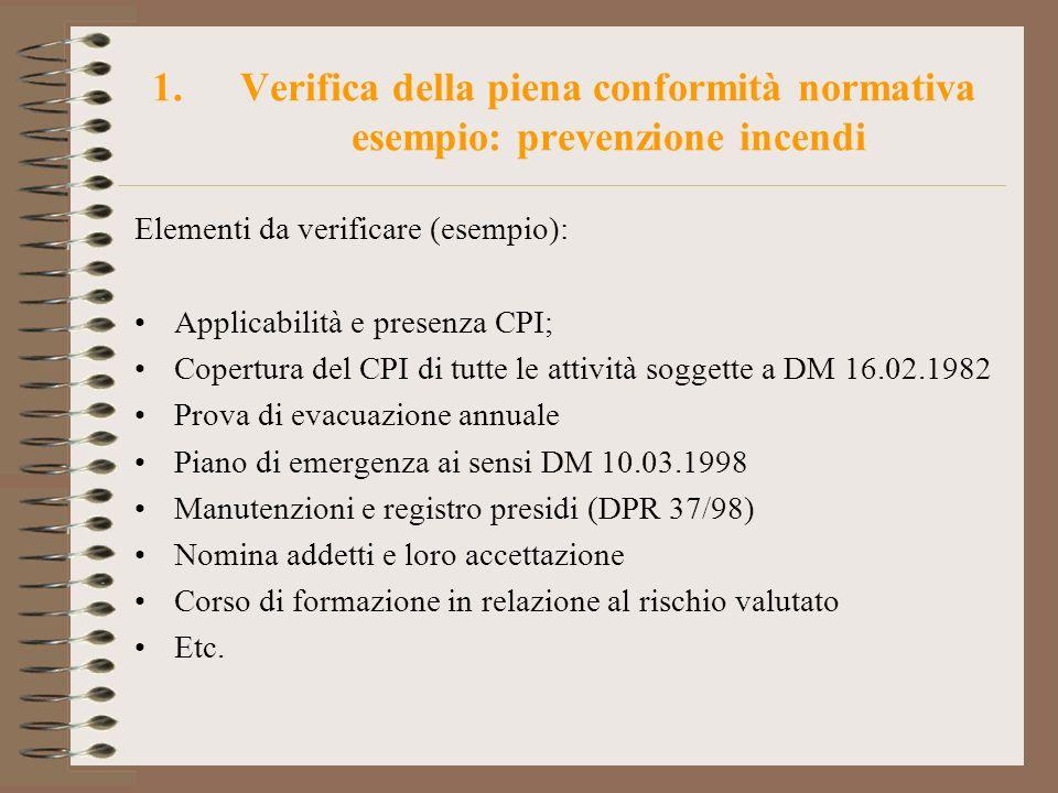 Verifica della piena conformità normativa esempio: prevenzione incendi