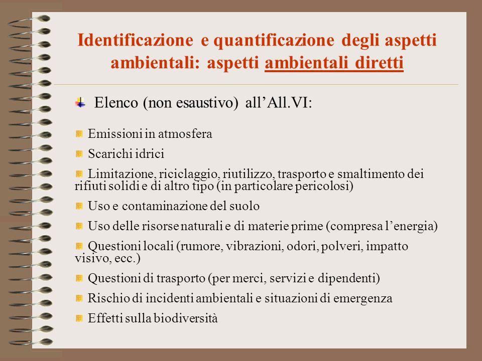 Identificazione e quantificazione degli aspetti ambientali: aspetti ambientali diretti