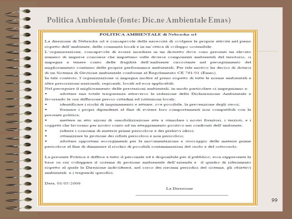 Politica Ambientale (fonte: Dic.ne Ambientale Emas)