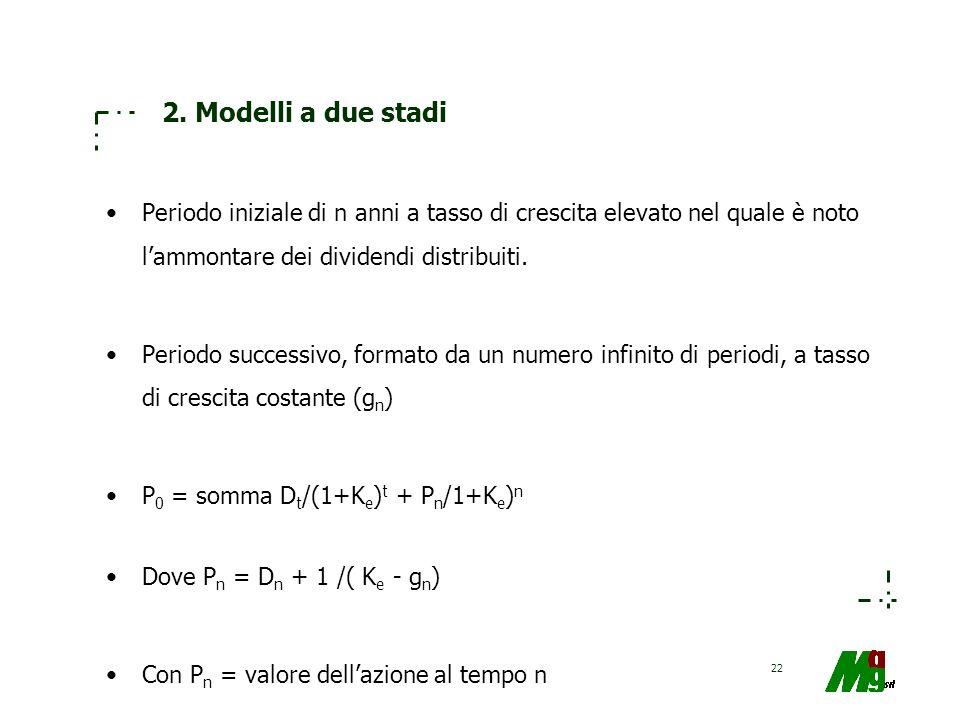 2. Modelli a due stadi Periodo iniziale di n anni a tasso di crescita elevato nel quale è noto l'ammontare dei dividendi distribuiti.