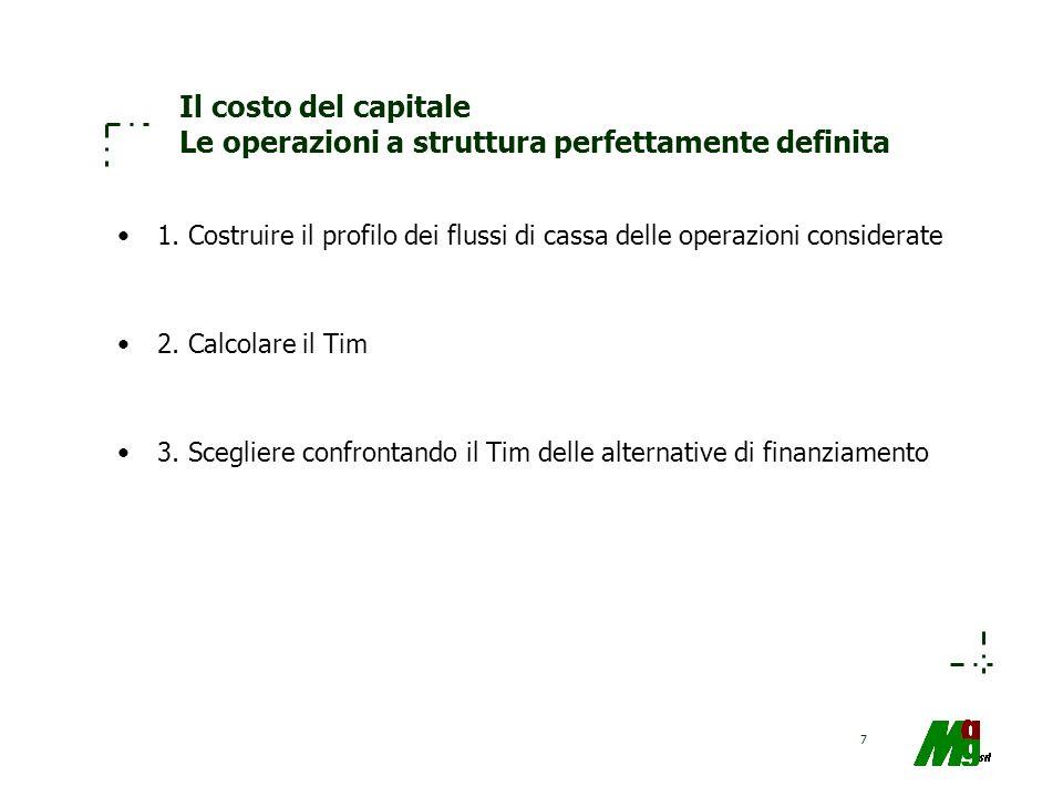 Il costo del capitale Le operazioni a struttura perfettamente definita
