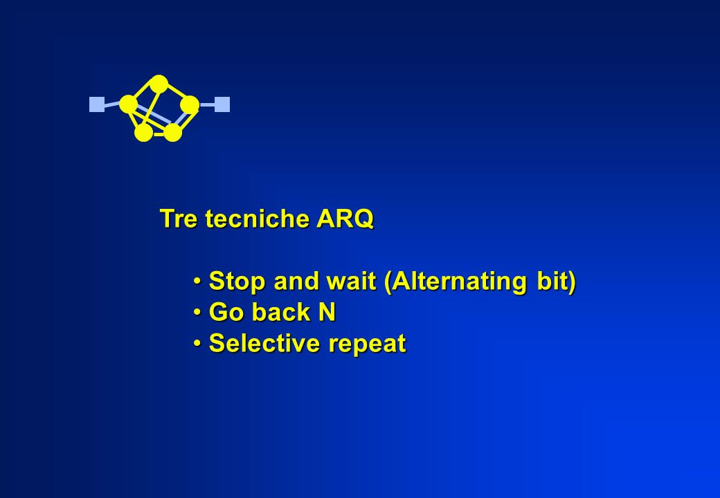 Tre tecniche ARQ Stop and wait (Alternating bit) Go back N Selective repeat